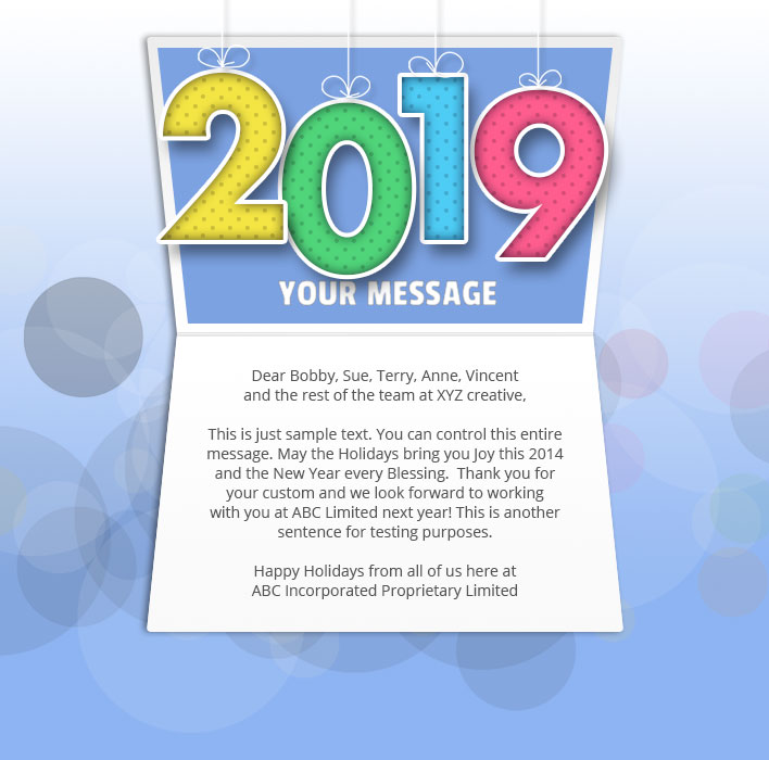 New Year Static eCard eCards for Business: Mobile Colour 2019