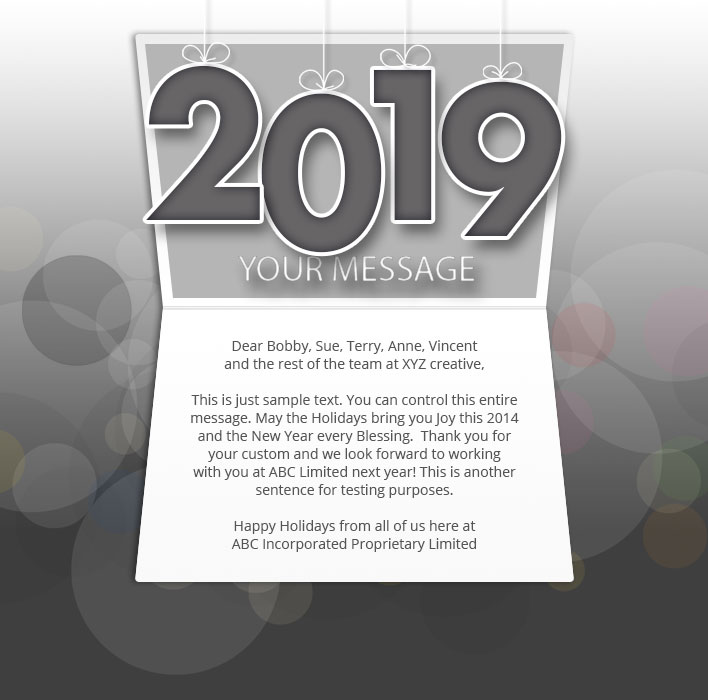 New Year Static eCard eCards for Business: Mobile Dark 2019