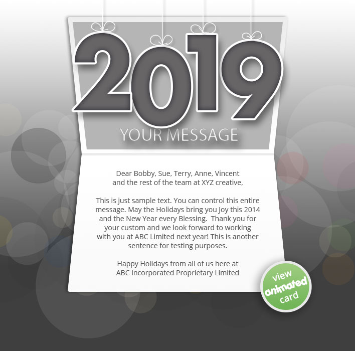 Animated Webpage eCards for Business:  New Year Dark 2019