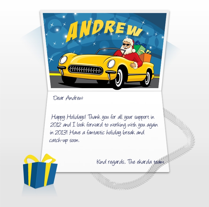 Company Christmas Cards eCards for Business: Santa in Car EU