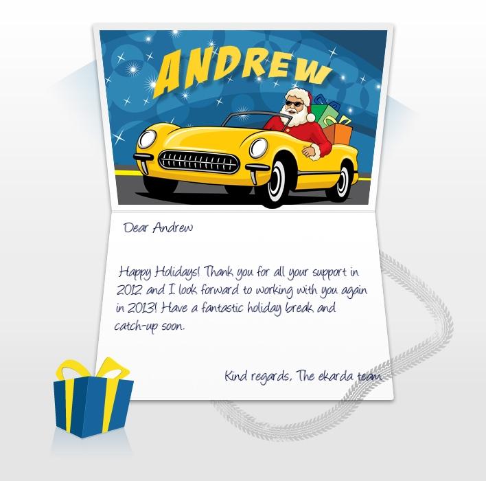 Company Christmas Cards eCards for Business: Santa in Car EU