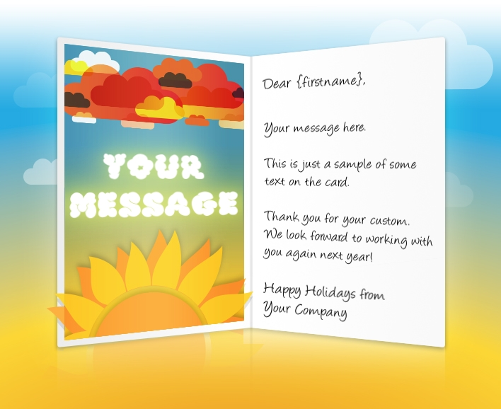 Static Christmas eCards for Business: Sun and Clouds EU