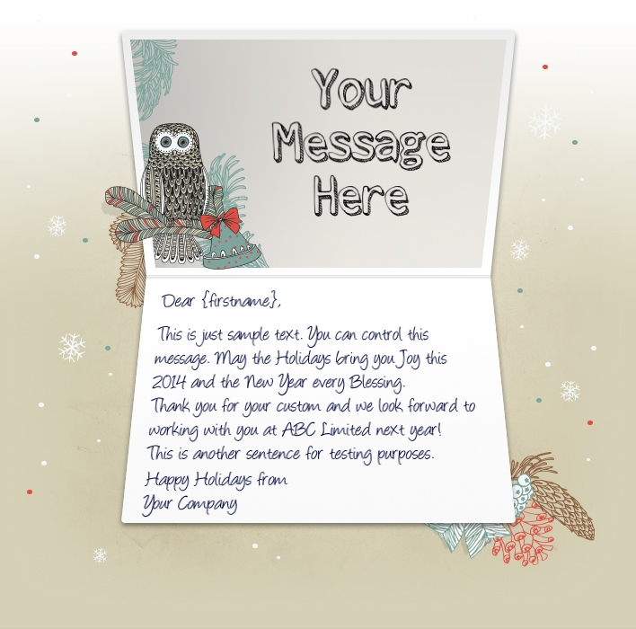 Owl And Bells EU. Company Christmas Cards  Christmas Greetings Sample